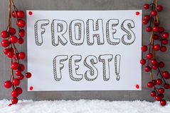 Label, Snow, Decoration, Frohes Fest Means Merry Christmas Stock Images