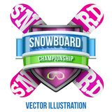 Label for snowboard and winter sport competition. Bright premium quality design. Editable Vector Illustration isolated on white background Stock Image