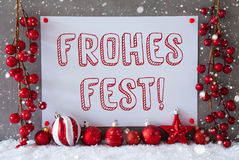 Label, Snowflakes, Balls, Frohes Fest Means Merry Christmas Royalty Free Stock Photography