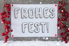 Label, Snowflakes, Decoration, Frohes Fest Means Merry Christmas Royalty Free Stock Photos