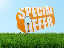 Label with special offer on grass (clipping path included) Stock Images