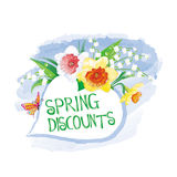 Label spring discount with flowers and butterfly Stock Photo