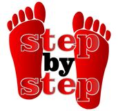 Label step by step with human traces Royalty Free Stock Photos