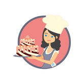 Label, sticker or badge design concept with female character. Cute girl or young woman baker holding a delicious cake. Vector label, sticker or badge design Stock Photos