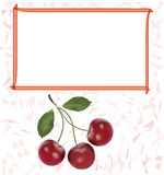 Label,sticker,tag design with cherry and frame for price Royalty Free Stock Images
