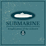 Label submarine, exploration of the seabed. Lettering design on blue background Stock Photo