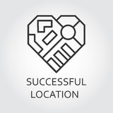Label of successful location concept in outline style. Label of successful location concept. Icon drawn in outline style. Simple line logo for button desing Royalty Free Stock Photos