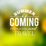 Label of the summer travel on a green background Royalty Free Stock Images