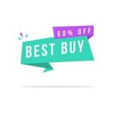 Label superbe Best buy de prix discount de vente Photographie stock