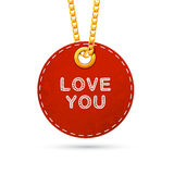 Label tag hanging on golden chain. Red design element isolated on white. Vector illustration Royalty Free Stock Photo