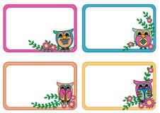 Label Tag. Owl Label Tag in Retro Colors vector illustration