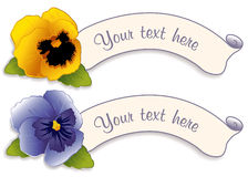 Label Tags, Gold & Sky Blue Pansies. Two vintage label tags with Gold and Sky Blue Pansies. Copy space. EPS8 compatible Royalty Free Stock Image