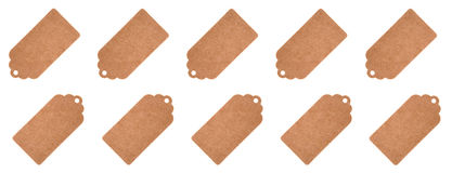 Label tags from recycled paper isolated on a white background Royalty Free Stock Images