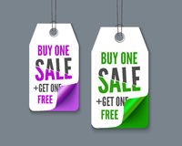 Label tags set - buy one get  free. Label tags set - buy one get one free, realistic vector paper. Promotion set for web sites and print Royalty Free Stock Photography