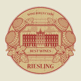 Label with the text Best wines collection, Riesling Stock Photos