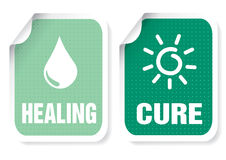Label with a text: healing, cure. Illustration of sticker with a text: healing, cure vector illustration