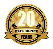 Label with the text 20 Years Experience written inside. Vector illustration Royalty Free Illustration