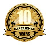 Label with the text 10 Years Experience written inside. Vector illustration Stock Photos