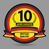 Label with the text 10 years guarantee written inside. Vector illustration Royalty Free Stock Photos