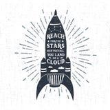 Label texturisé tiré par la main de vintage avec l'illustration de vecteur de fusée illustration stock