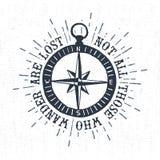 Label texturisé tiré par la main de vintage avec l'illustration de vecteur de rose de boussole Images libres de droits