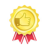 Label thumb up. Gold label with thumb up. Best choice emblem with red ribbon. Premium quality badge. Vector illustration. EPS 10 Stock Photos