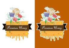 Label tiré par la main de miel de vecteur avec le groupe de peigne et de fleur Honey Labels Set Bannière de miel de pré Image libre de droits