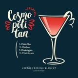 Label tiré par la main moderne de lettrage pour la margarita de cocktail d'alcool illustration stock