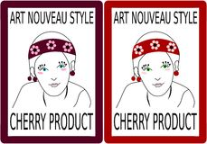 Label to a product of cherry fruit with girlish head Royalty Free Stock Images