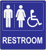 Label to refer to a public toilet. Classical label to refer to a public toilet. The label with the designation of men, women and invalina in a wheelchair Stock Photo