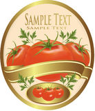 Label with tomatoes and parsley. Royalty Free Stock Photos