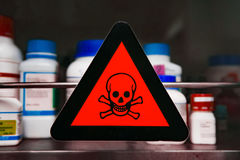 Label toxic chemicals. Focus at label toxic chemicals Stock Photos