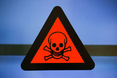 Label toxic chemicals. Focus at label toxic chemicals Stock Photo