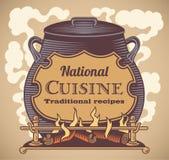 Label traditionnel de cuisine illustration stock