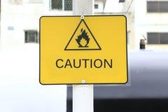 Label triangulaire inflammable Photos libres de droits
