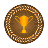 Label with trophy cup Stock Images