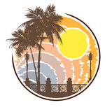 Label tropical beach in style grunge. Royalty Free Stock Photography