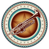 Label with trumpet. Stock Photo