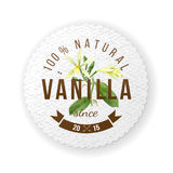 Label with type design and vanilla plant Stock Image