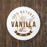 Label with type design and vanilla plant Royalty Free Stock Images