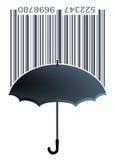 Label with umbrella Stock Image