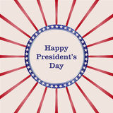 Label in United State American flag color covered by blue ribbon for Presidents Day celebration. Stock Photos