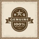 Label 100% véritable de qualité de vintage Image stock