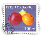 Label for various fresh organic products ads stylized as post stamp Stock Photo