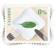 Label for various healthy nutrition diet products advertisements stylized as post stamp Royalty Free Stock Images