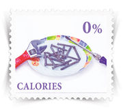 Label for various healthy nutrition diet products advertisements stylized as post stamp Royalty Free Stock Photography