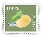 Label for various natural products ads stylized as post stamp Stock Photo