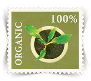 Label for various organic products ads stylized as post stamp Royalty Free Stock Images