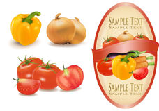 Label with vegetables. stock illustration
