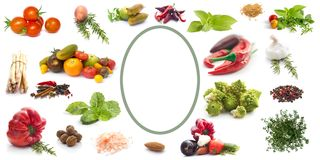 Label with vegetables, herbs and spices. White Label with vegetables, herbs and spices stock image